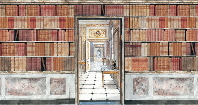 Tapete Bibliothek Bogen