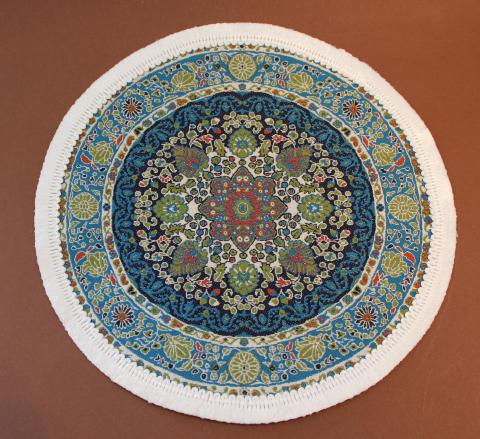 Teppich rund grün  Teppich rund blau/grün - swisttaler-puppenstuebchen